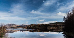 Lake with snowy mountains (Highlands) Loch Laggan Stock Image