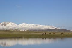 Lake Son-Kul, Kyrgyzstan. Stock Photos