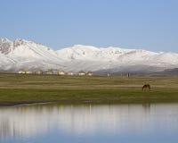 Lake Son-Kul, Kyrgyzstan. Traditional national Kyrgyz houses - y Stock Photography
