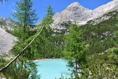Lake of Sorapis, Tarn. This is the beautiful lake of sorapis in Belluno, Italy Stock Image