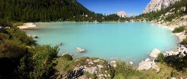 Lake Sorapiss. In the Dolomites Royalty Free Stock Photo