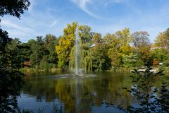 Lake in the spa garden of Heilbad Heiligenstadt. Germany royalty free stock photo