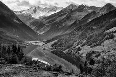 Lake Speicher Durlassboden Austria in black and white Royalty Free Stock Photos