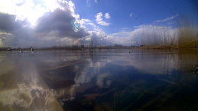 Lake in the spring over water and underwater. Lake in the city area of suburbs stock video footage