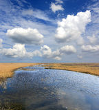Lake in spring steppe Stock Photos