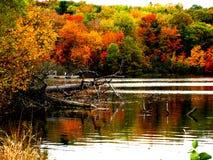 Lake at St-Bruno Mountain. At fall Royalty Free Stock Image