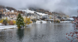 Lake St. Moritz with in the autumn Stock Photo