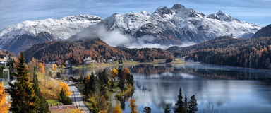 Lake St. Moritz with in the autumn Royalty Free Stock Photo