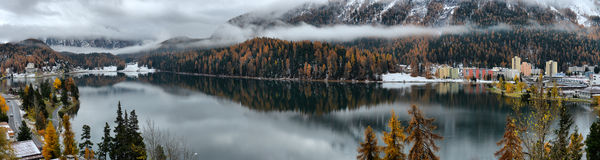 Lake St. Moritz in the autumn Royalty Free Stock Images