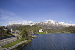 Lake of St. Morizt with Train Staition Stock Photos