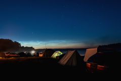 Tent camping star sky lake Royalty Free Stock Photos