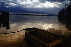 Lake Starnberg. Starnberger See, in upper Bavaria near Munich in Germany on a stormy day Royalty Free Stock Photography