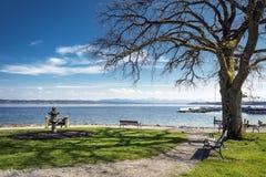 Lake Starnberg with bench Stock Photos