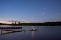 Lake Seliger: stars nightscape Royalty Free Stock Photo