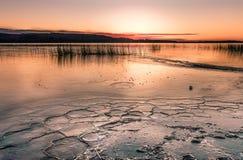 Lake starting to freeze january Finland. Sunrise at the lake that is starting to freeze in January Royalty Free Stock Photography