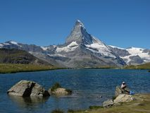 Lake Stellisee And Matterhorn Stock Photography