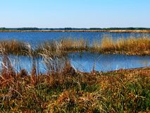 The lake in the steppe. The blue lake widely spread on the steppe Royalty Free Stock Images