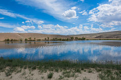 Lake steppe sky clouds mountains Royalty Free Stock Photo