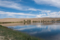 Lake steppe sky clouds Royalty Free Stock Photos
