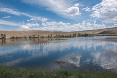 Lake steppe sky clouds Royalty Free Stock Photo