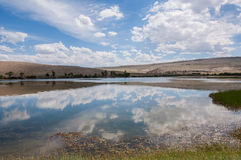 Lake steppe sky clouds Royalty Free Stock Images
