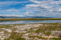 Lake steppe sky mountains clouds Stock Images