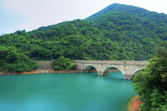 Lake with stone bridge Royalty Free Stock Photography