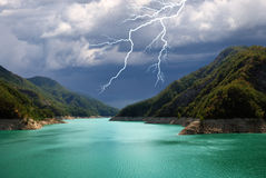 Lake with stormy sky Royalty Free Stock Photography