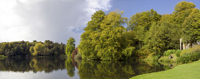 The Lake at Stourhead. Gardens in early Autumn Royalty Free Stock Image