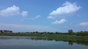 Lake Straulesti - blue sky & clouds Royalty Free Stock Image