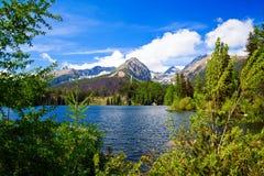 Lake Strbske Pleso. Beautiful lake Strbske Pleso in High Tatras of Slovakia in spring stock photography