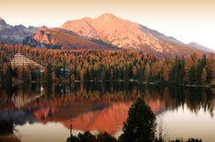 Lake Strbske pleso in High Tatras Royalty Free Stock Photos
