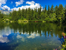 Lake Strbske pleso with mountain on the background in the Slovakia royalty free stock photo