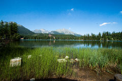 Lake Strbske Pleso with mountains Stock Photos