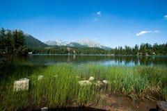 Lake Strbske Pleso with mountains Stock Photos