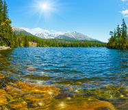 Lake Strbske Pleso (Slovakia) spring view. Royalty Free Stock Photo