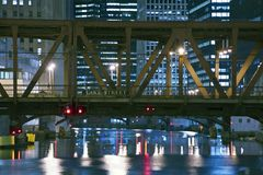 Lake Street Bridge Chicago. Old Metal Lake Street Bridge Chicago - Chicago Downtown. Chicago, Illinois, U.S.A. Night Time Photography. Architecture Photo Stock Image