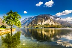 Lake in the summer Alps, Hallstatt, Austria Royalty Free Stock Photography