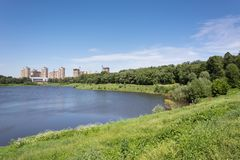 Lake in summer city park. On a sunny day Royalty Free Stock Photos