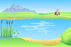 Lake summer landscape day illustration Royalty Free Stock Photo