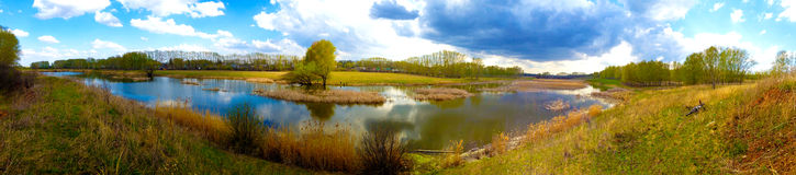 Lake summer panorama. Landscape panorama of the lake of summer in cloudy weather stock photography