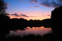 lake summer sunset 免版税图库摄影