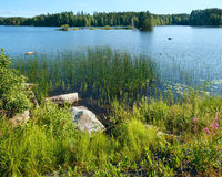 Lake summer view (Finland). Royalty Free Stock Images
