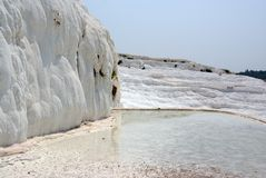 Lake on sunny terrace in pamukkale Stock Photography