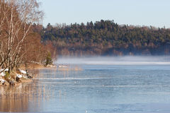 Lake on a sunny winter day Royalty Free Stock Image
