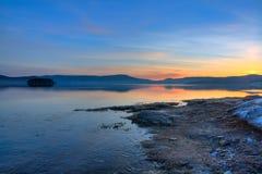 Lake sunrise. Beautiful nature landscape; sunrise on the bulgarian Batak dam lake Stock Photo
