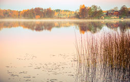 Lake at sunrise in fall Royalty Free Stock Photography