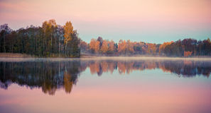 Lake at sunrise in fall Royalty Free Stock Photo