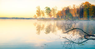 Lake at sunrise in fall Royalty Free Stock Images