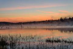 Lake sunrise fog peach Royalty Free Stock Image
